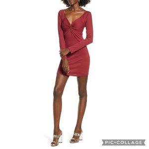 NWT All in Favor Red Ribbed Bodycon Dress Medium